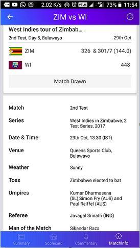 Yahoo cricket app match info