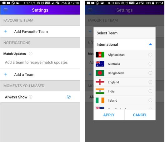 Yahoo cricket app settings