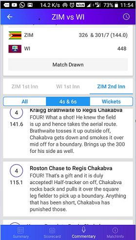 Yahoo cricket news app commentary feature