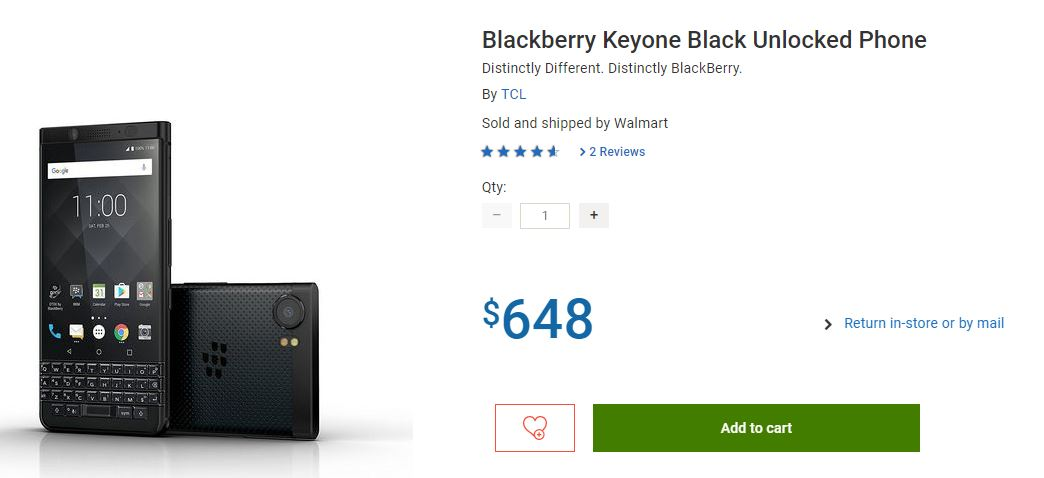 Blackberry Keyone Black Unlocked Phone price cut in canada