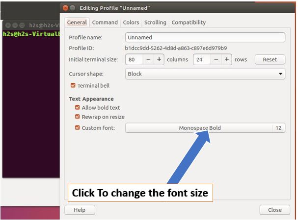 Change the default font size of Ubuntu terminal
