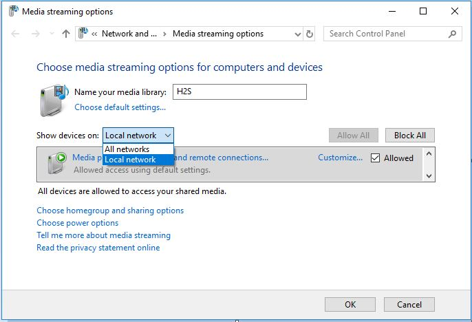 Customize the Windows 10 DLNA media server options
