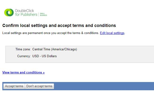Double click confirm local settings and accept terms and conditions