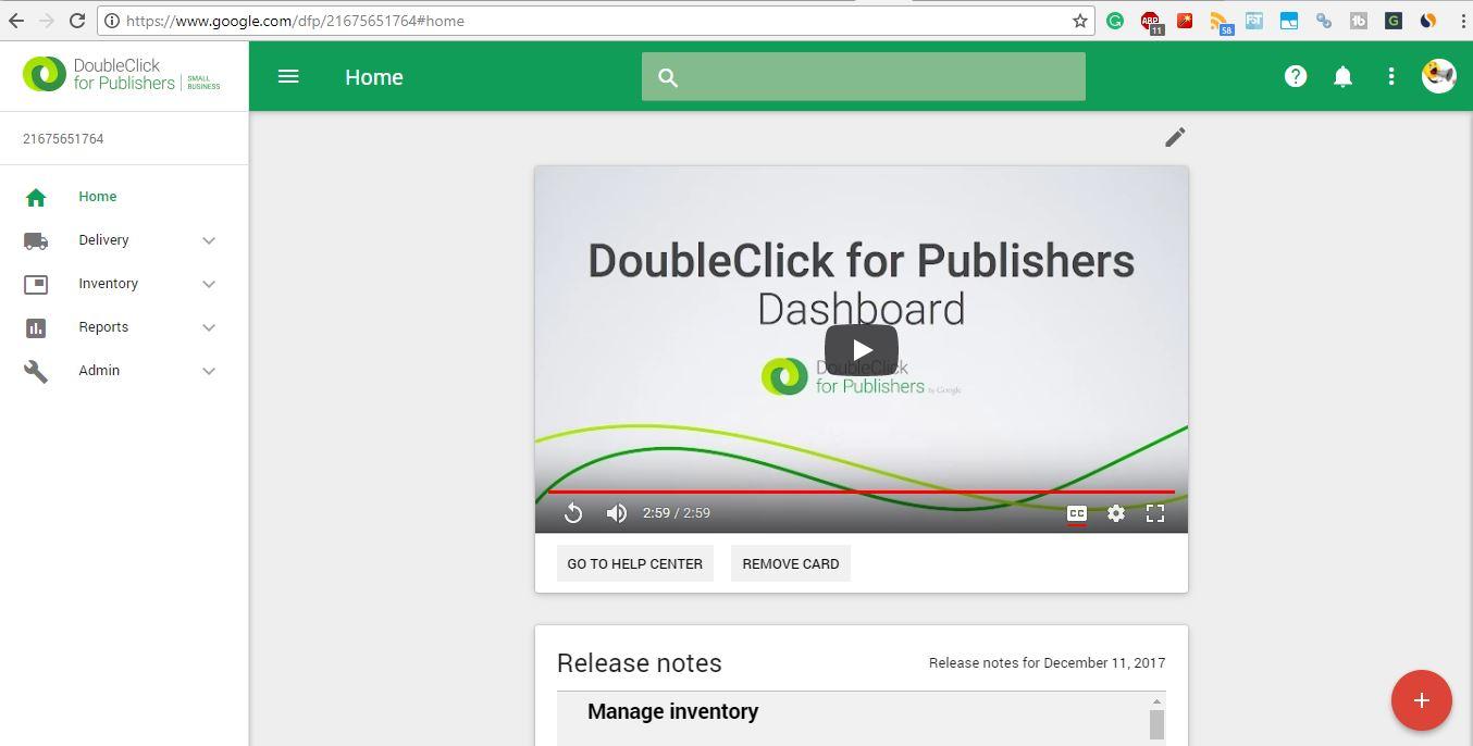 Google Doubleclick Ad Exchange dashboard