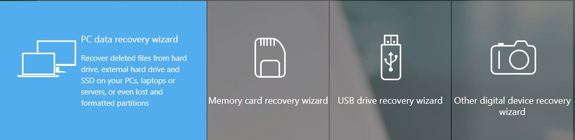EaseUS PC data recovery wizard