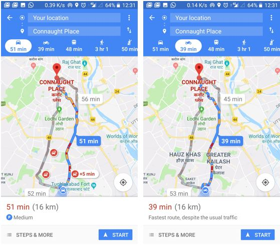 For Indian Bikers or two wheller riders not get he Google Map New 'motorcycle mode' Feature