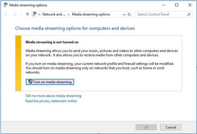 Media streamin enable in Windows 10 to turn on the DLNA server