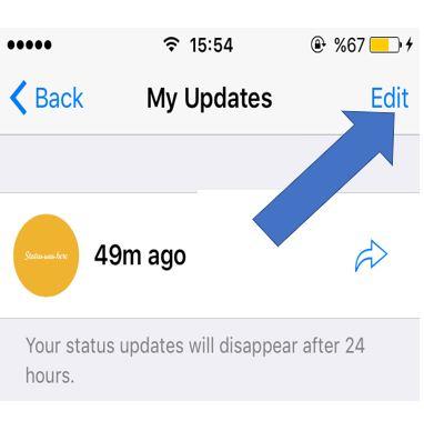 Remove the whatsapp status in iPhone