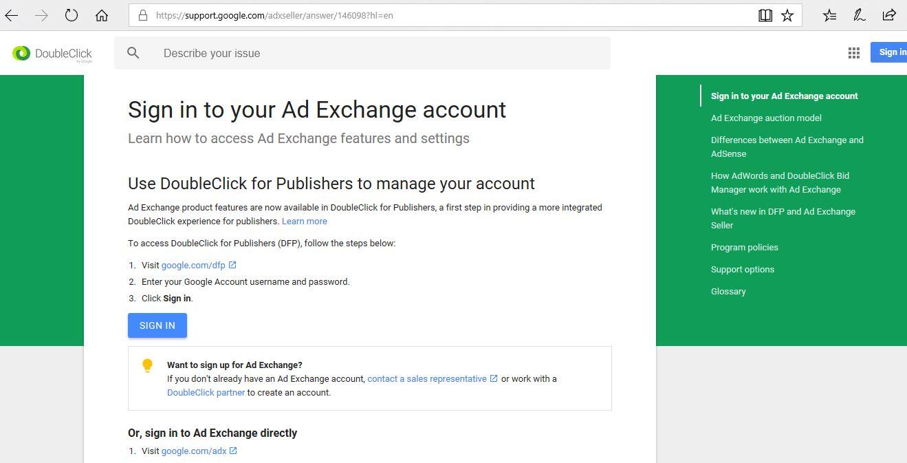 google ad exchange sign up