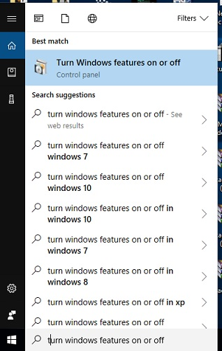 turn windows features on or offthe hyper-V in windows 10