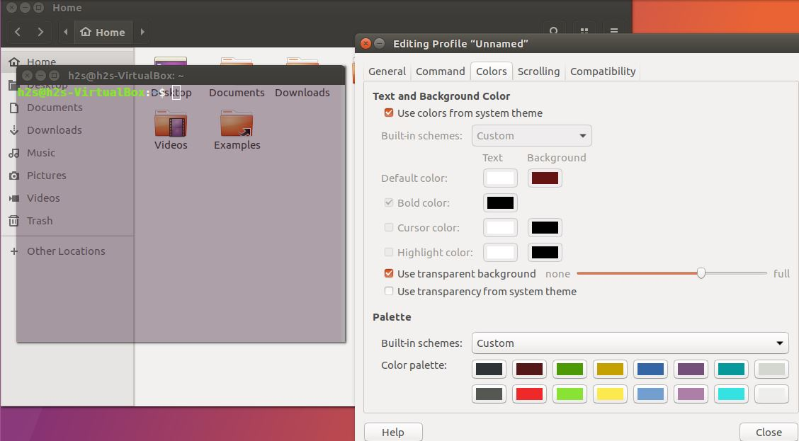 ubuntu transparent windows