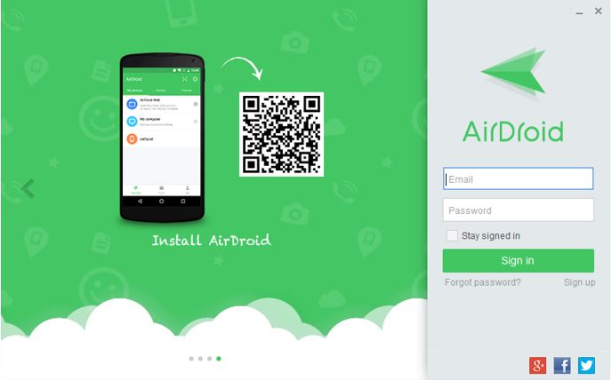 Airdroid app software for android, Windows and Mac login