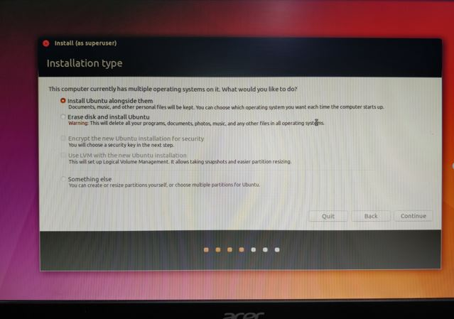 Dual boot installation Ubuntu Linux and Windows 10
