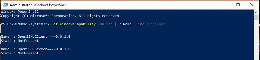 Enabling Windows 10 openssh using powershell