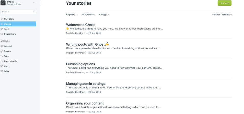 Ghost CMS alternative to wordpress