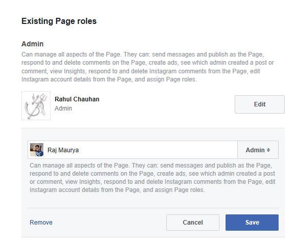 Remove the faecbook page admin role
