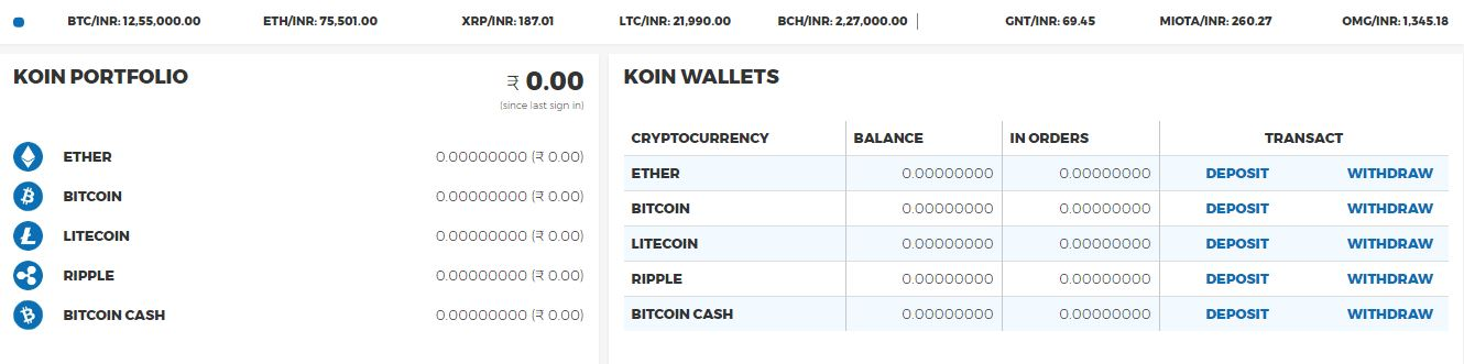 Ripple wallet Koinex