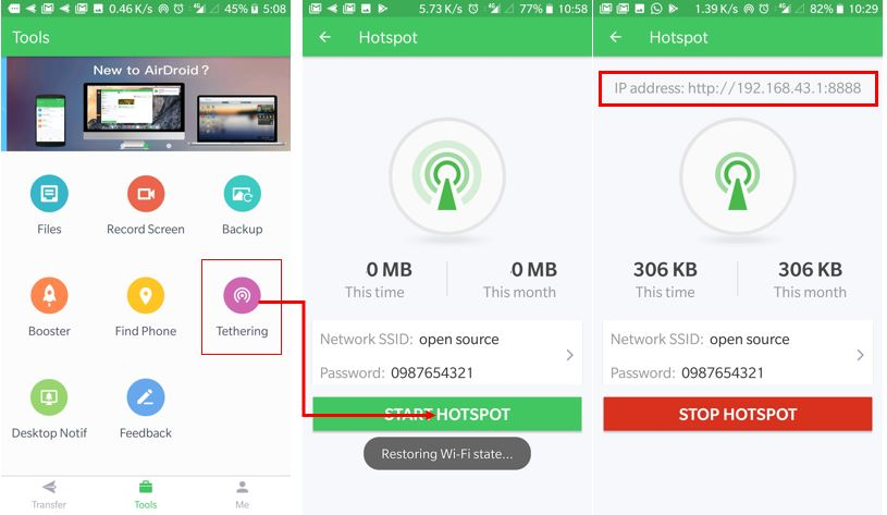 Start hotspot on Airdroid app and use it offline wihtout internet