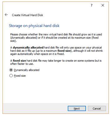 Storage Type on virtual HArd disk for Ubuntu VM