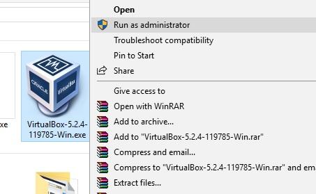 virtualbox installation on windows 10