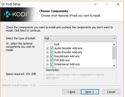Choose Kodi componenets
