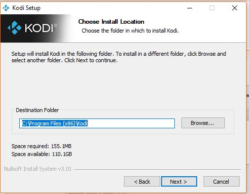 Choose install location for kodi