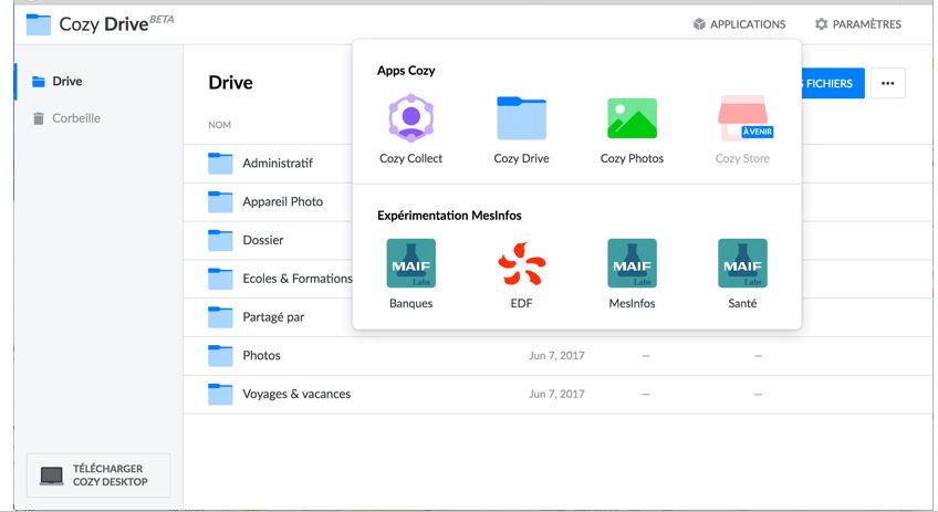 Cozy drive free personal Cloud Software storage