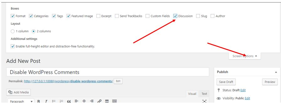Enable and Disable the comments on WordPress particualr post or page