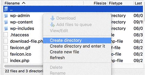 FTP client to create subdirecoty in WordPress