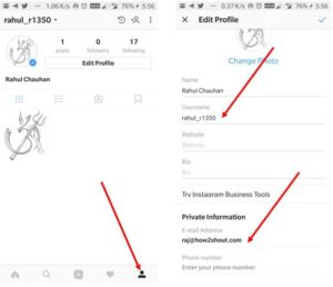 How to edit the instagram profile and username
