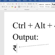 Indian Rupee symbol type in Word and Excel