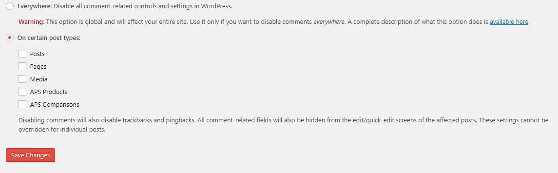 Remove comments box in WordPress