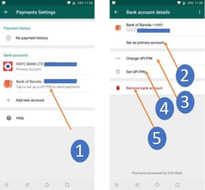 Set primary accout, change UPIPIN, Set new UPI PIn in WhatsApp Payments