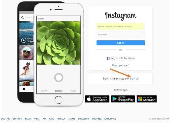 create instagram account on PC without facebook