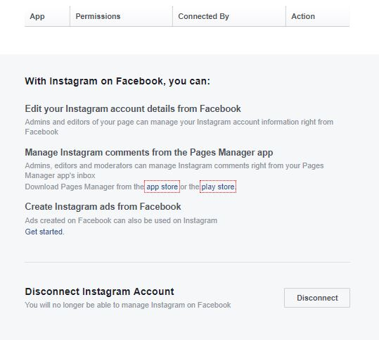disconnect the Instagram from Facebook