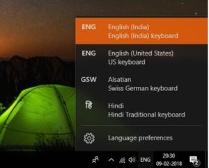 language option in Windows 10 and Windows 8