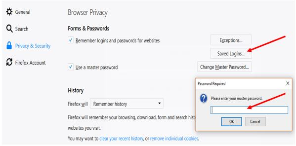 Check the master password of Firefox