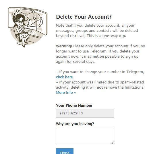 Delete your Telegram account confirmation