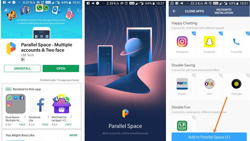 How to use parallel space to create multiple account apps