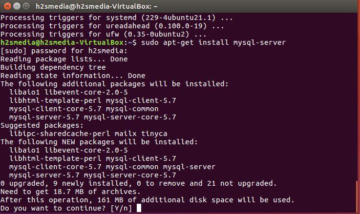 LAMP MySQL installation on Ubuntu 16.04