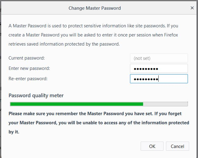 MAter password protection Mozilla firefox