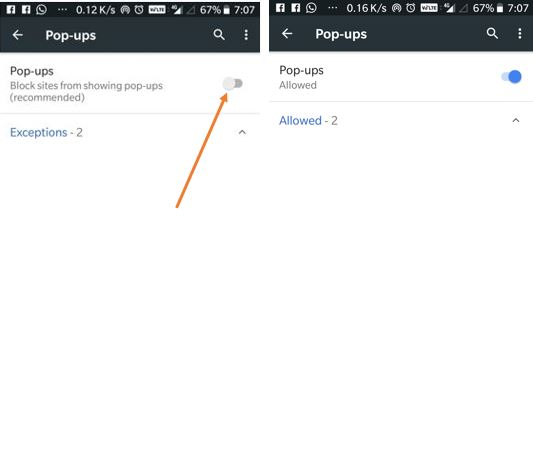 Pop-ups block in Android chrome browser
