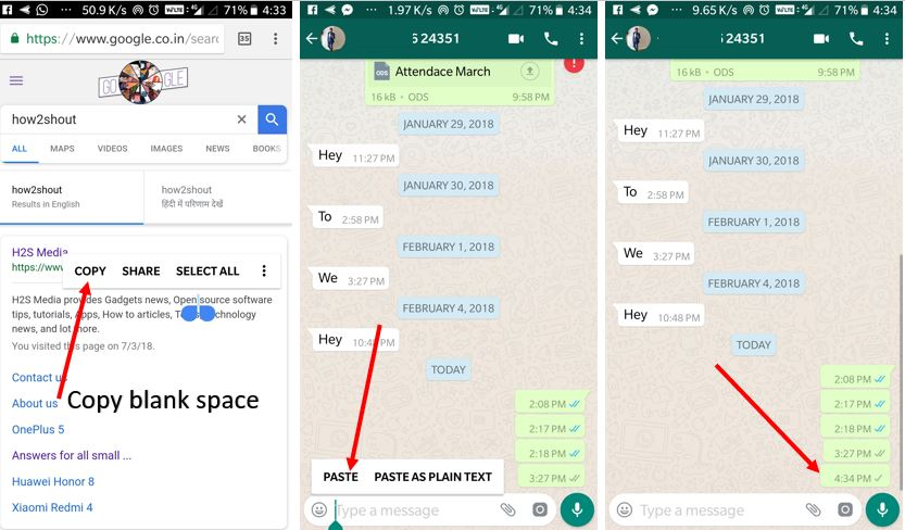 Send blank message on Whatsapp without app on ANdroid and iPhone