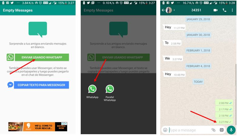 Send blank messages on WhatsApp with app