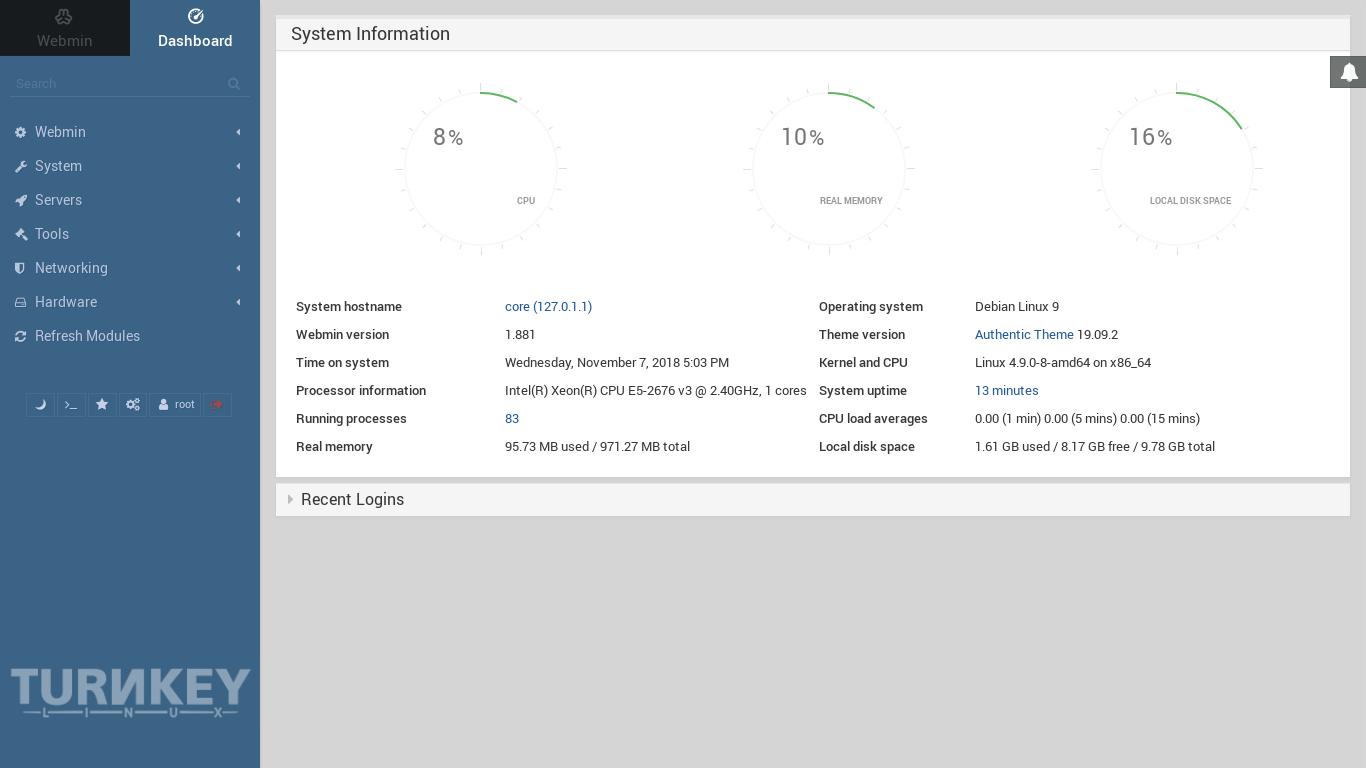 Turnkey NAS file server webmin_admin_dashboard