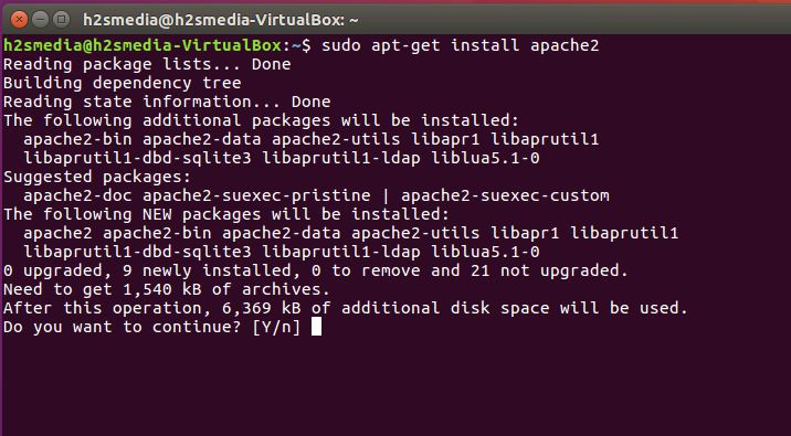 Ubuntu Apache installation in Terminal commands
