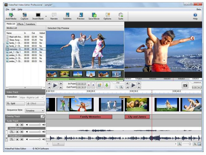 VideoPad Video Editor (Free Paid) video editing software