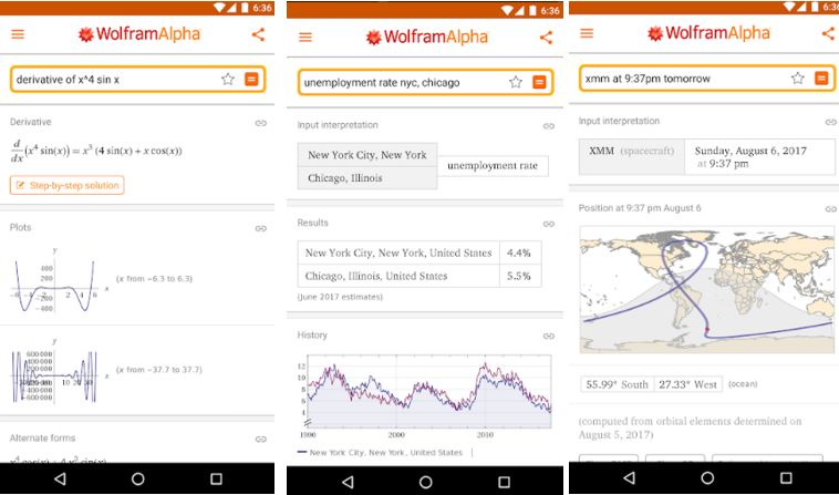WolframAlpha useful android app for student