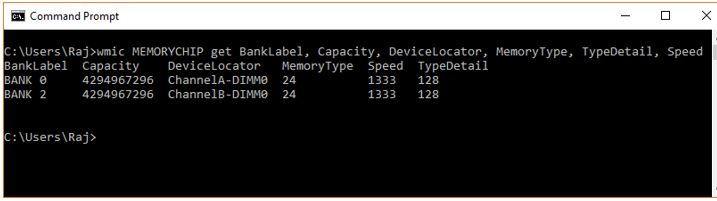 check ram frequency using cmd in WIndows 10