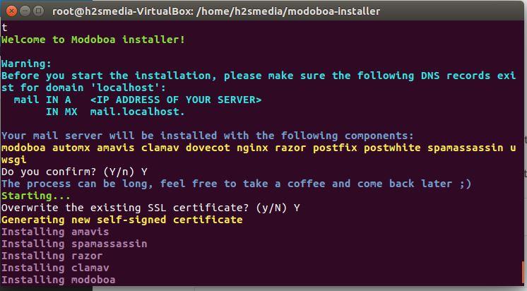 install Modoboa via ubuntu command terminal
